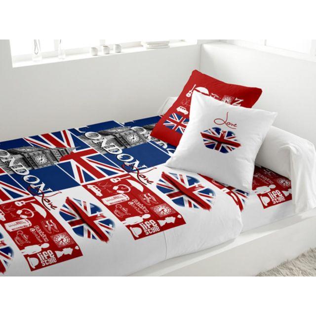 soldes soleil d 39 ocre parure de lit coton 240x290 cm london love blanc 300cm x 240cm pas cher. Black Bedroom Furniture Sets. Home Design Ideas