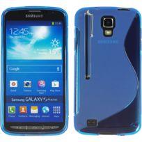 Vcomp - Housse Etui Coque souple silicone gel motif S-line pour Samsung Galaxy S4 Active I9295/ I537 Lte + stylet - Bleu