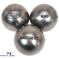Obut - Boules de pétanque Match 115.it inox 75mm Gris 57230