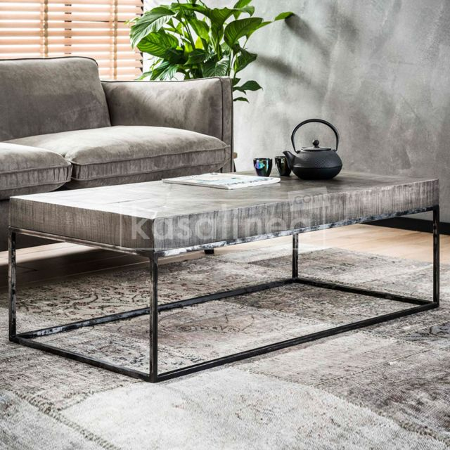 Kasalinea Table basse rectangulaire en bois massif Alanis 2