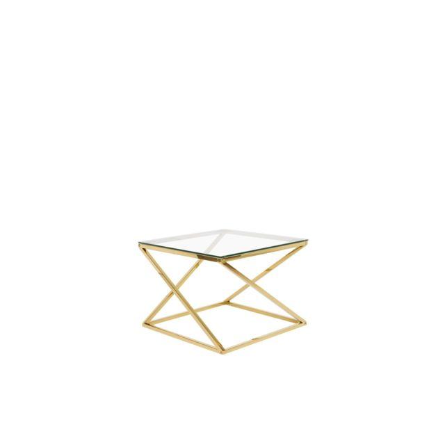 BELIANI Table appoint dorée avec plateau en verre BEVERLY - transparent