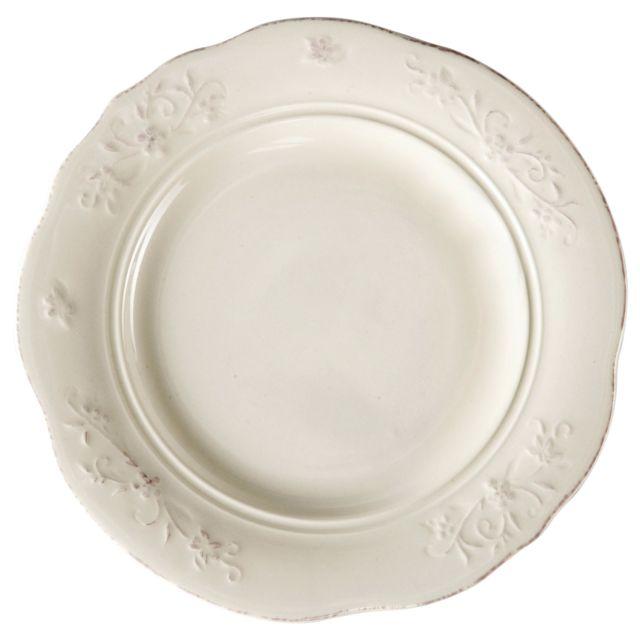 Comptoir de famille - Assiette à dessert en faience blanche ...