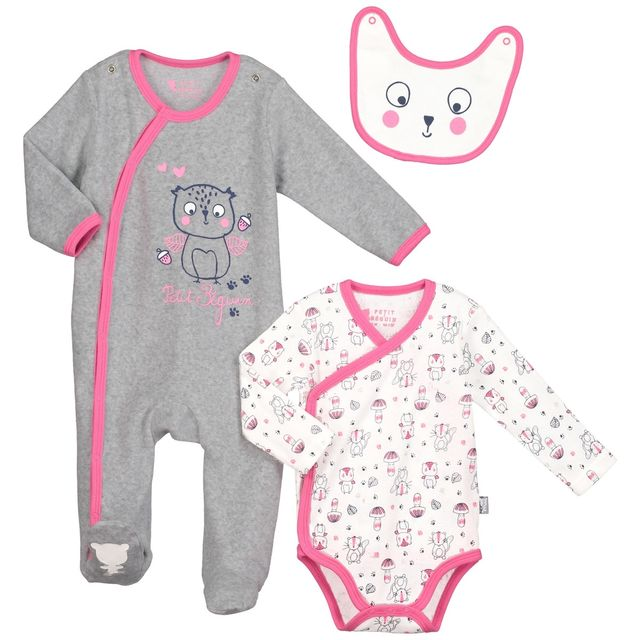 4cf167bb2e650 Petit Beguin - Kit naissance bébé fille Petite forêt - Taille - 3 mois 62 cm  Multicolore - pas cher Achat   Vente Pyjamas