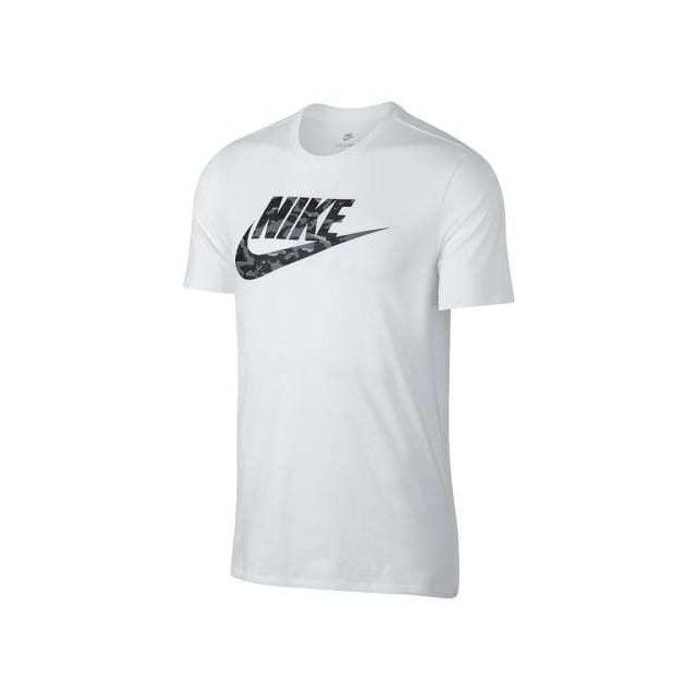 Nike T shirt à manches courtes Sportswear Camo blanc gris