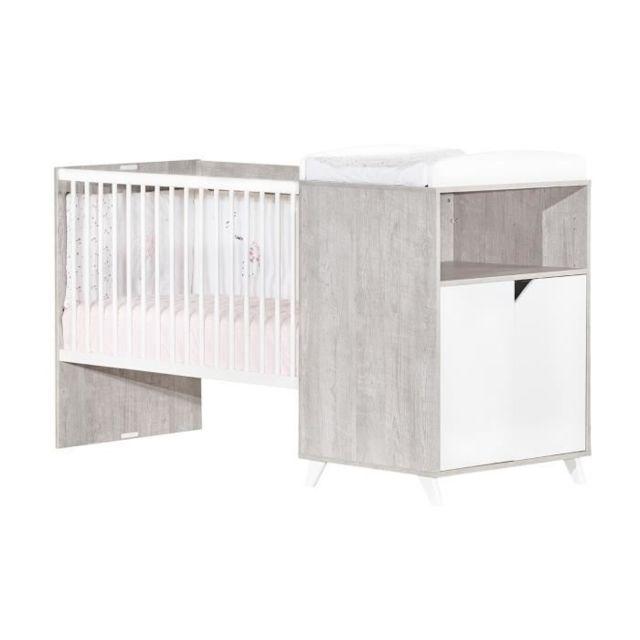 LIT BEBE Babyprice - SCANDI GRIS - Lit Combiné Evolutif 120x60 en 90x190