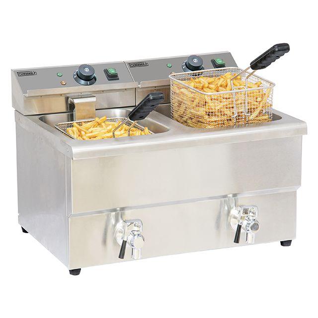 CASSELIN friteuse électrique 2x8l 6500w avec vanne de vidange - cfev82