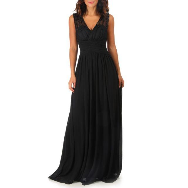 image de robe longue noire pas cher