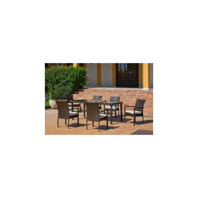 Hevea Salon De Jardin Table A Manger Bahia 150 en Acier Resine tressee marron Coussins couleur Anais Blanc Hev31894