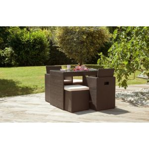 Dcb garden salon de jardin 2 places en r sine tress e - Salon de jardin resine couleur chocolat ...
