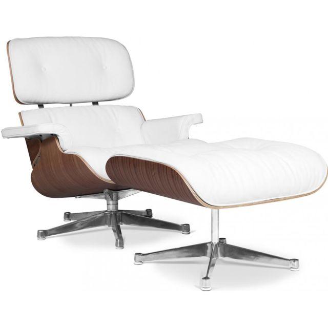 Privatefloor Long Chair & Ottoman Cuir Premium - Noyer