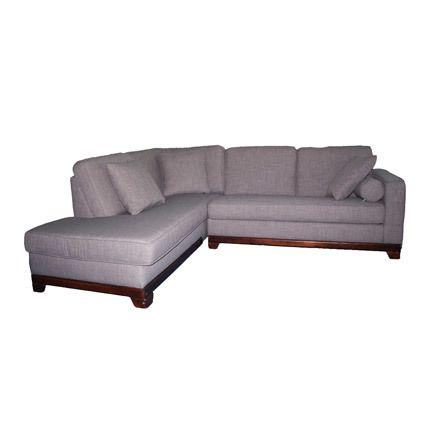 Canapé d'angle à gauche fixe en tissu, 100% polyester coloris taupe