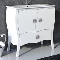 Stylo - Meuble sur pieds 80cm 2 portes 1 tiroir Alcazar Blanc + vasque céramique