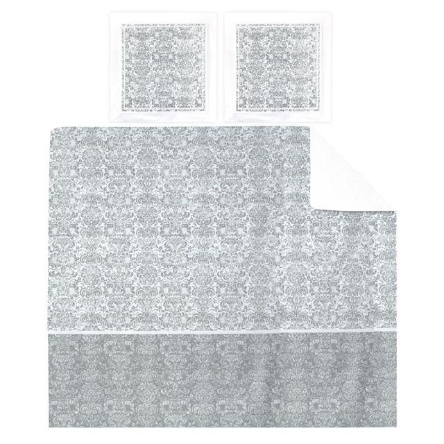 linnea parure de lit 200x200 cm percale pur coton amboise gris 3 pi ces multicolore nc pas. Black Bedroom Furniture Sets. Home Design Ideas
