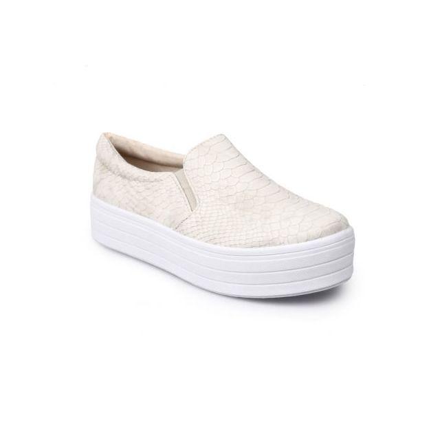 La Modeuse - Baskets slip-on croco gris clair - pas cher Achat ... 37bca297141a