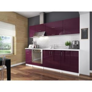 aucune city cuisine complete 2m40 aubergine laqu haute brillance sans electromenager. Black Bedroom Furniture Sets. Home Design Ideas