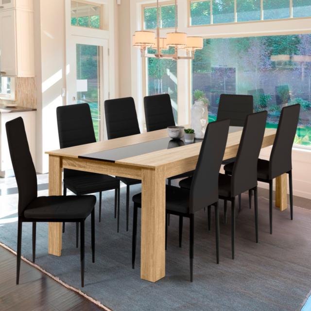 Idmarket Table à manger Georgia 8 personnes hêtre et noire 160 cm