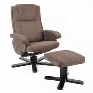 fauteuil relax manuel tissu gris avec repose pieds kiwi. Black Bedroom Furniture Sets. Home Design Ideas