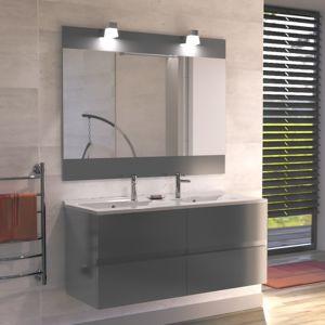 meuble salle de bain deux vasques gris
