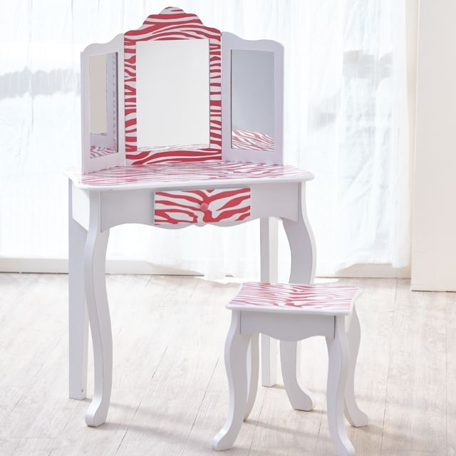 Coiffeuse Enfant Teamson Bois Table Maquillage Miroir Tabouret Fille Td 11670b