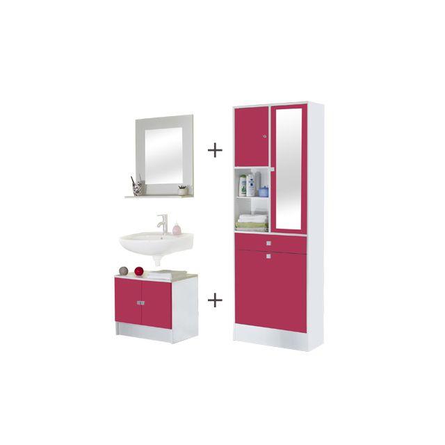 Ensemble meubles salle de bain coloris blanc et fuchsia ...
