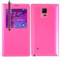 Vcomp - Coque Etui Housse Pochette Plastique View Case pour Samsung Galaxy Note 4 Sm-n910F/ Note 4 Duos Dual Sim, N9100/ Note 4 CDMA, / N910C N910W8 N910V N910A N910T N910M + stylet - Rose