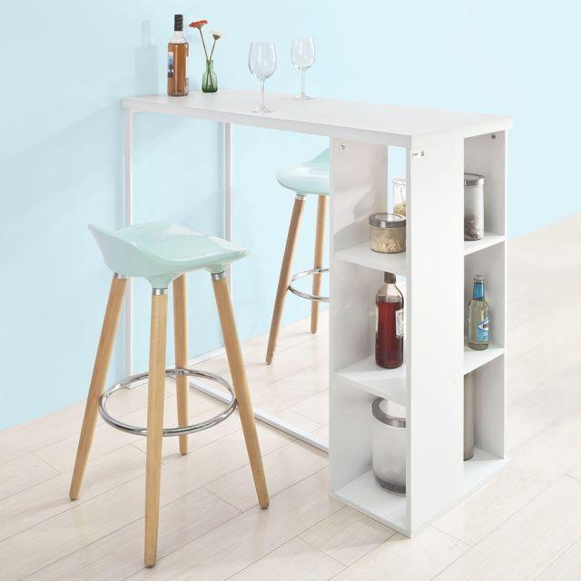 Sobuy Fwt39 W Table Haute De Bar Mange Debout Cuisine Avec 3 Etageres De Rangements Pas Cher Achat Vente Bureaux Rueducommerce
