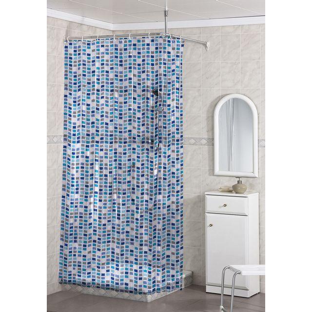 Marque Generique Rideau De Douche Pvc 120x200 Cm Bleu Mosaique