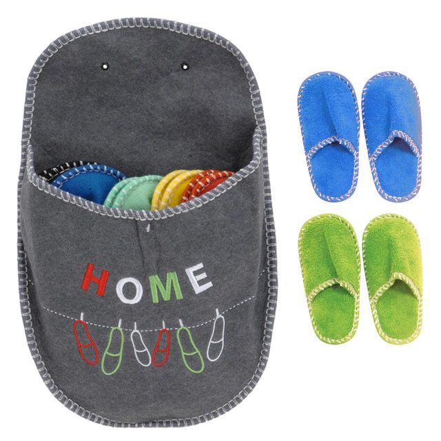 Touslescadeaux - 5 paires de chaussons pantoufles invités dans un chausson  géant - Gris decf149147b0