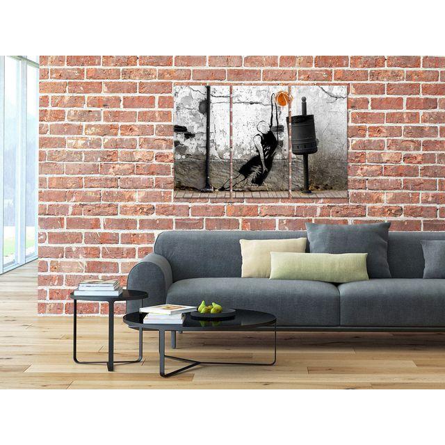 Declina - Tableau triptyque basketteur sur toile imprimée - Déco street art 80cm x 120cm