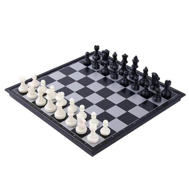 E-thinker échecs magnétique - Taille moyenne - Noir et blanc