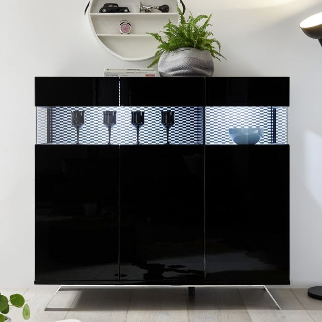 Kasalinea Buffet haut lumineux design noir laqué Palermo 7