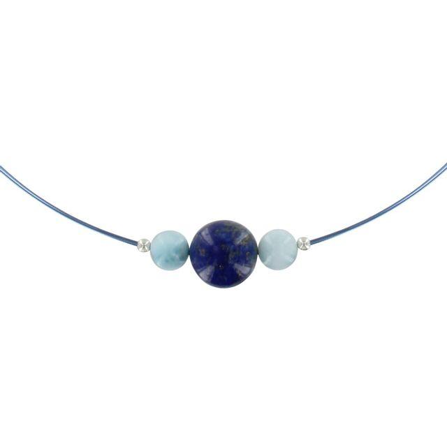 collier argent perle bleu