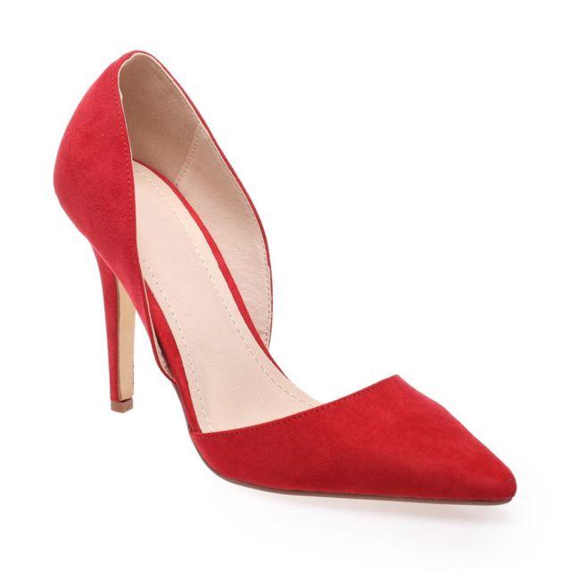 Escarpins rouge suédine