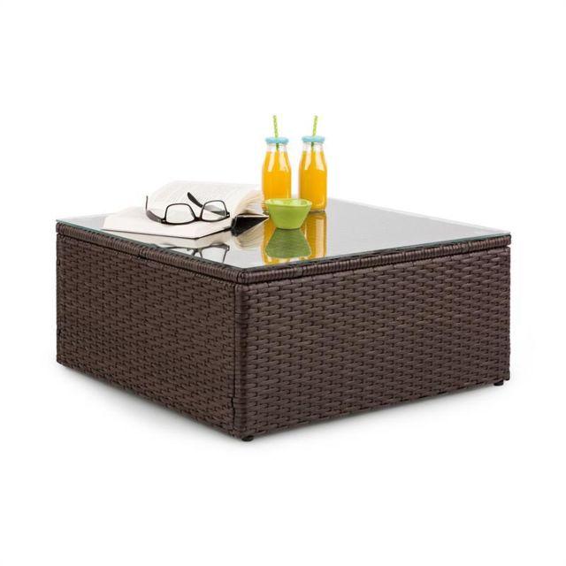 BLUMFELDT Theia Table de salon de jardin en polyrotin plateau en verre - Marron