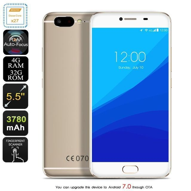 Yonis Smartphone Android 7.0 4G Deca Core 2.6Ghz 4Gb Ram 4K 5.5 Pouces 32Go