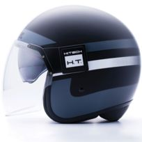 Blauer - casque jet moto scooter Pod Graphic fibre noir-titane-blanc mat