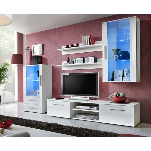 Paris Prix Ensemble Meuble Tv Design Galino Viii 250cm Blanc