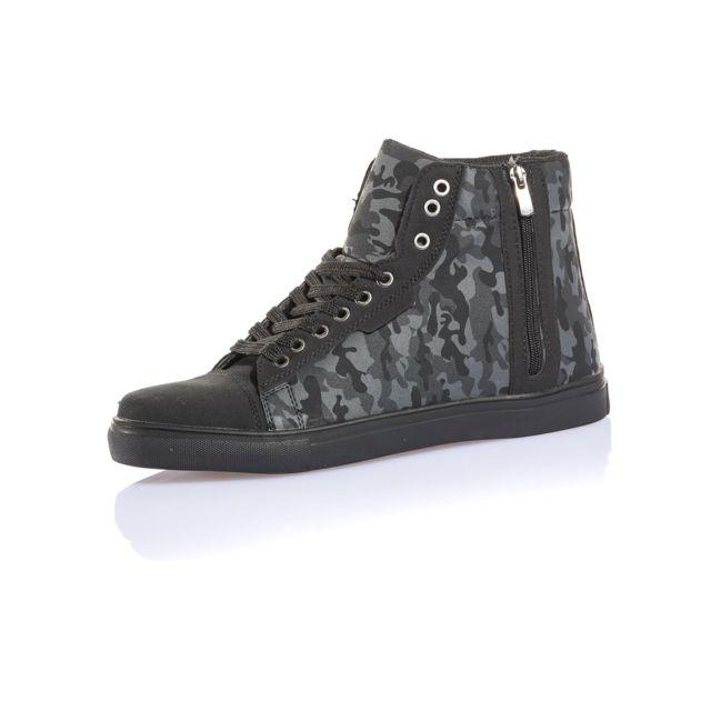 BLZ Jeans Basket montante camouflage noire avec zip pas