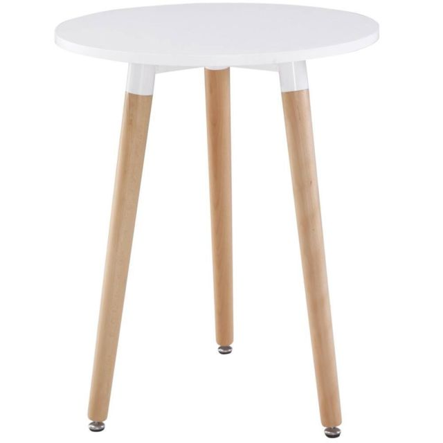 Inside 75 Table ronde style scandinave Norway 80 x 75 cm blanc mat et brillant