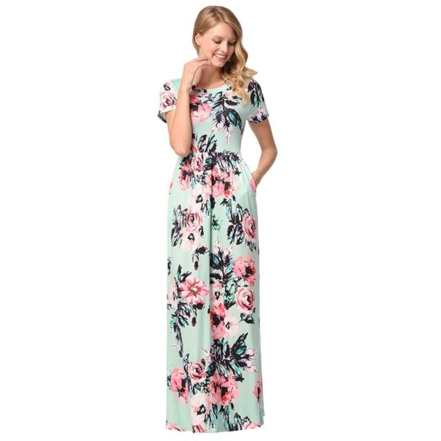 92849a30e9b Wewoo - Robe Femme vert Dernières Mode Femmes Impression Motif Fleur  Manches Courtes Sexy Jupe Longue