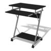 Rocambolesk - Superbe Table de bureau noire pour ordinateur avec roulettes Neuf
