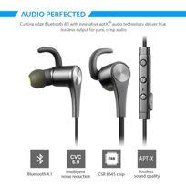 Alpexe - Ecouteur Bluetooth Sport, casque sans fil pour jogging, mains libres, la technologie aptX, oreillette magnétique compatible pour tout les appareils bluetooth Q12 Noir