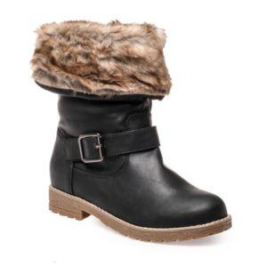 La Modeuse Bottines à revers fourré inspiration cuir noir Noir - Chaussures Bottine Femme