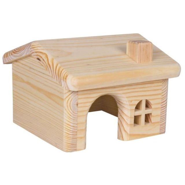 ACCESSOIRE DE CAGE - ABRI PETIT ANIMAL Maisonnette en bois pour hamsters/souris 15 × 11 × 15 cm