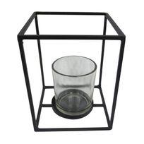 Aucune - Homea Photophore en métal et verre 12x12xH15 cm noir