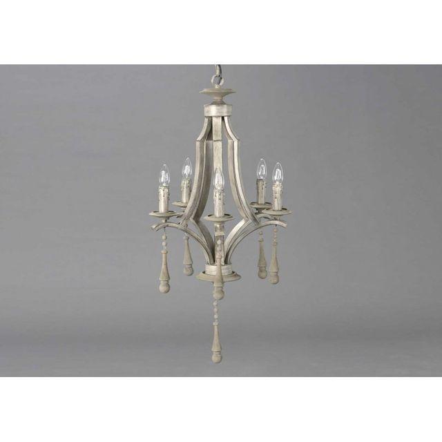 amadeus lustre de charme heritage x5 branches en bois et m tal vieilli lin pas cher achat. Black Bedroom Furniture Sets. Home Design Ideas