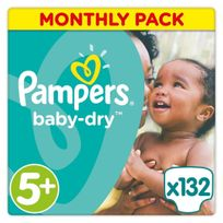 PAMPERS - Baby-Dry - Couches Taille 5+ Junior, 13-25kg - 132 couches