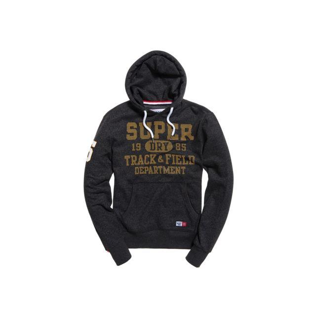 Superdry Sweat à Capuche Trackster Hood Black Grit Gris