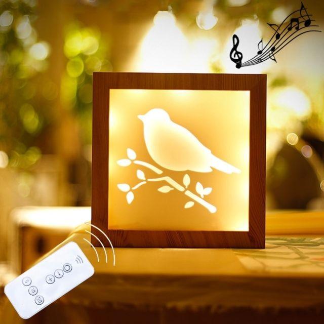 Chaud Led Lampe Cadeau 1 Creative Photo Nouveauté 5w Décoration Lumière Motif Télécommande Veilleuse Blanche Nuit Gradation Cadre Oiseau QCtsrxhd