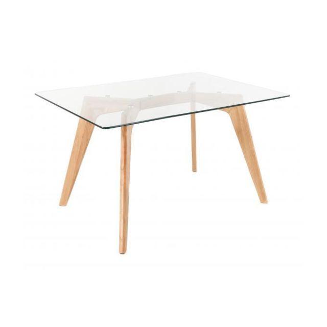 Declikdeco Table à Manger Scandinave Verre 120cm Fiord